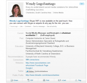 Twitter follow button on LinkedIn profile